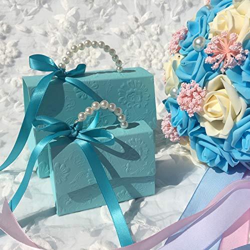 MNHJG Bolsa de Regalo 20 unids/Lote Fiesta portátil Boda Favor Cajas de Dulces Baby Shower Bolsa de Regalo Caja de Dulces Mariage romántico