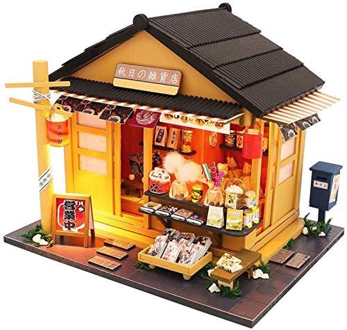Feeyond DIY Casa Pequeña Tienda De Comestibles Japonesa DIY Montaje Miniatura LED Tienda De Comestibles Japonesa Casa De Muñecas Modelo Tienda De Comestibles De Juguete para Niños