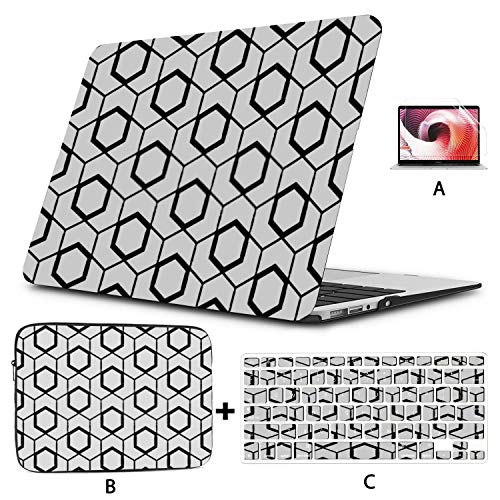 MacBookPro13inchCase(New Pro UBS-C,2020,A2289/A2251),Geometric Pattern Lines Seamless Vector Background Laptop Case with Keyboard Cover + Sleeve + Screen Protector