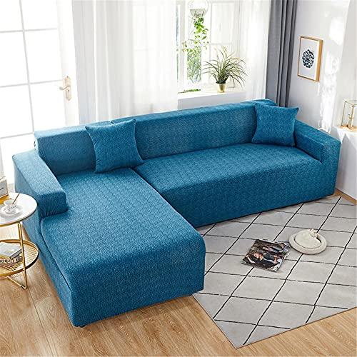 Anoauit Cubierta en Forma de l Longue Cubierta de sofá Elástico para Sala de Estar Spandex Sofá Cubierta para sillón de sillones de Esquina,Azul,1 Seater