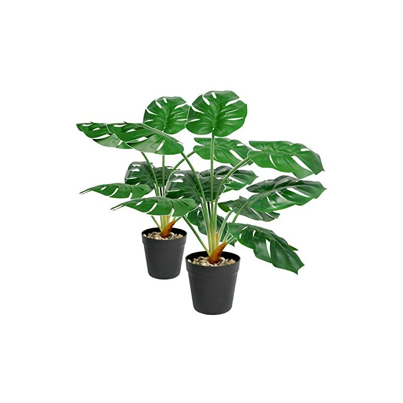 """silk flower arrangements 2 pack 25"""" artificial monstera deliciosa plant, tropical realistic fake potted palm plants tree with 9 leaves indoor décor for home office decoration"""