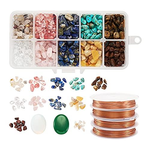 Kit de Fabricación de Joyas Kit de perlas de piedras preciosas naturales de 1000pcs con alambre de cobre for BRICOLAJE Costura collar hecha a mano pulsera joyería haciendo accesorios establecidos