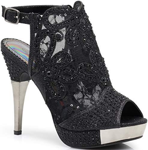 Enzo Romeo Angie15 Womens Open Toe High Heel Wedding Rhinestone Mesh Sling Back Sandal Wedge Shoes (11, Black)