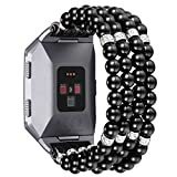 fastgo Compatible for Fitbit Ionic Bands for Women, Pearl Beaded Elastic Replacement Accessory Band Compatible for Fitbit Ionic Smart Watch(Pearl Black)