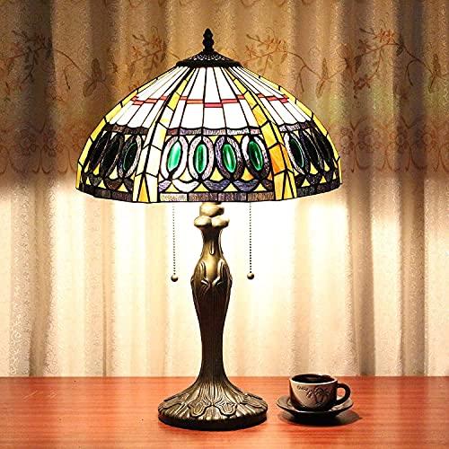 16 pulgadas verde diamante vintage pastoral lujoso tiffany lámpara lámpara de mesa lámpara de escritorio lampara