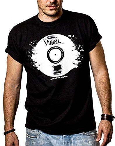 Cooles Dj T-Shirt mit Vinyl Schallplatte schwarz Größe XXL