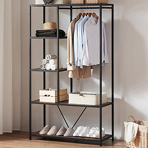 IBF Free Standing Closet, Wood and Metal Garment Rack with Shelves and Hanging Rod, Industrial Heavy Duty Clothes Storage Open Wardrobe for Room Oak Black