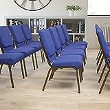 BizChair 18.5' W Stack Church Chair, Navy Blue Patterned Fabric/Gold Vein