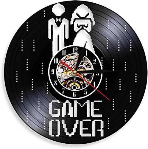 ZZLLL Reloj de Pared de Vinilo Reloj de Pared de Vinilo LED Juego de Boda Reloj de Pared de Videojuegos Reloj de Pared de Registro de Matrimonio de Soltero