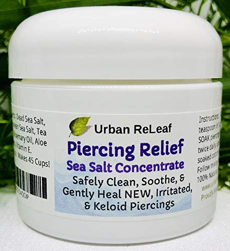 Urban ReLeaf Piercing Relief Sea Salt Concentrate AFTERCARE ! Safely Clean, Soothe & Gently Heal New Irritated & Keloid Bump Piercings. Effective Non-iodized Dead Sea Salt, Tea Tree Rosemary
