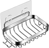 Homemaxs Soap Dish, 2021 Soap Dish for Shower with Hook, 304 Stainless Steel Wall Mounted Bar Soap Holder for Bathroom Kitchen- Powerful Adhesive No Drilling