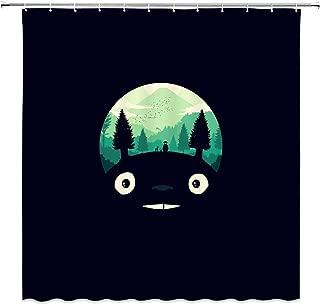 AMFD Totoro Shower Curtain Cute Comics Creative Animal Forest Minimalist Black Green Cartoon Bathroom Curtains Decor Polyester Fabric Waterproof 70 X 70 Inches Include Hooks