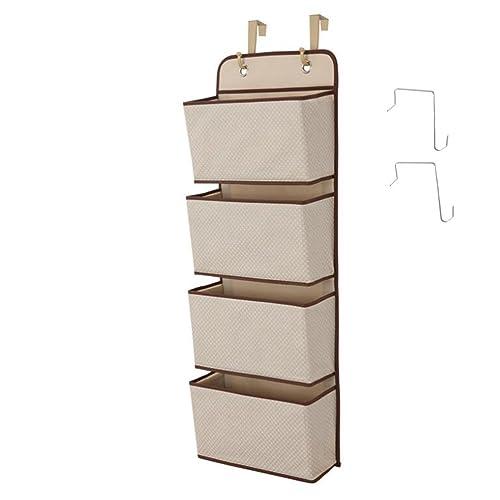 Hanging Closet Organizer, 4-Pockets Wall Mount/Over Door Storage for Toys, Purses, Keys, Sunglasses - Beige