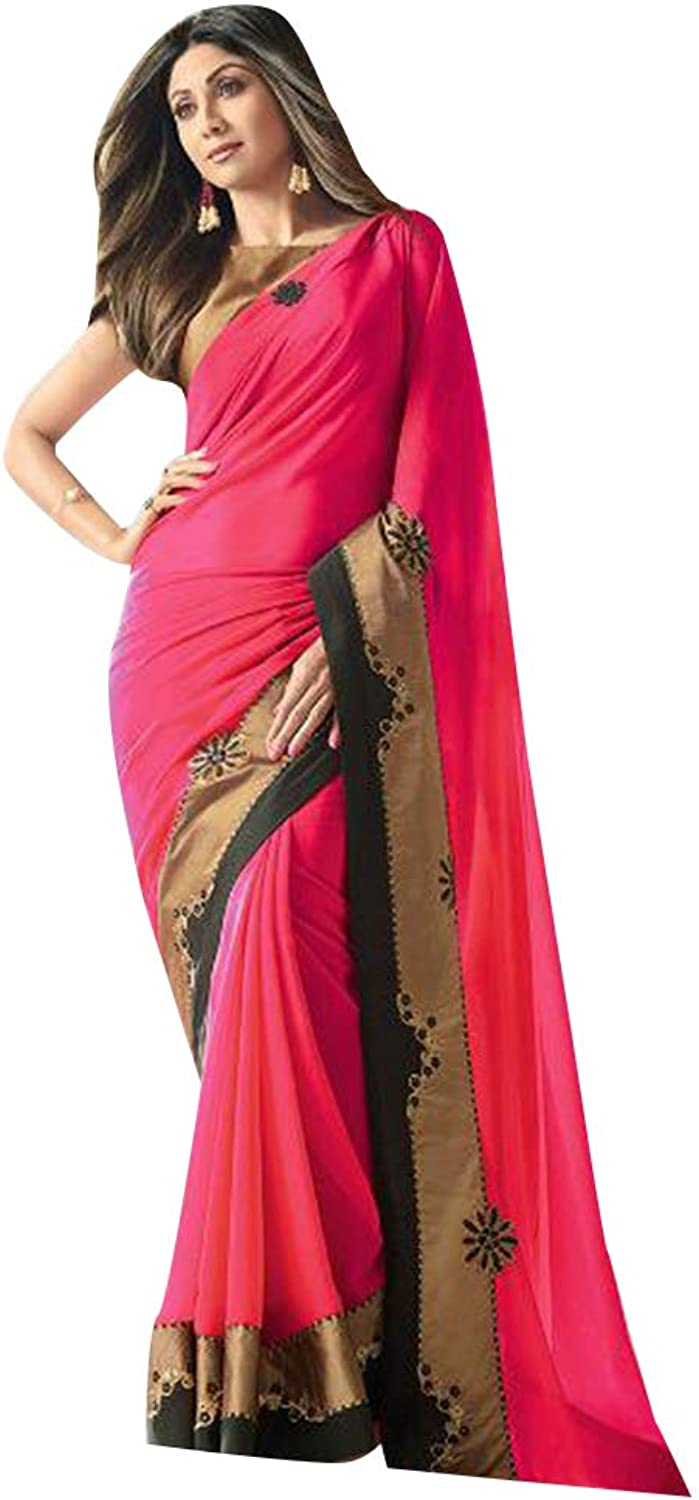 Pink Designer Bollywood Shilpa shetty Fancy Saree with Blouse piece Sari for Women Evening Cocktail wear 7852