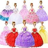 WENTS Robes de poupée 10 Pack Robe de mariée Fait à la Main Tenue de soirée Tenues de soirée Accessoires de Costume de Jupe Aléatoire pour Barbie Robe de poupée 11,8 Pouces pour Les Filles