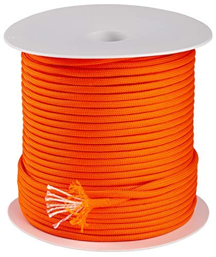 Trexi Corde en paracorde avec capacité de Charge certifiée 250 kg | 7 cœurs de Strands-Core | US MIL-Spec 5040-H Type III | Bobine de 100 m | 550 Cord | Parachute, Orange Fluorescent, 100m