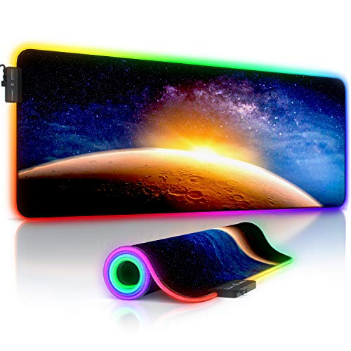 Titanwolf - RGB Gaming Mauspad - LED Schreibtischunterlage - 800x300 mm - XXL Mousepad - LED Multi Color - 11 Beleuchtungs-Modi - 7 LED Farben Plus 4 Effektmodi - abwaschbar - Stars & Mars