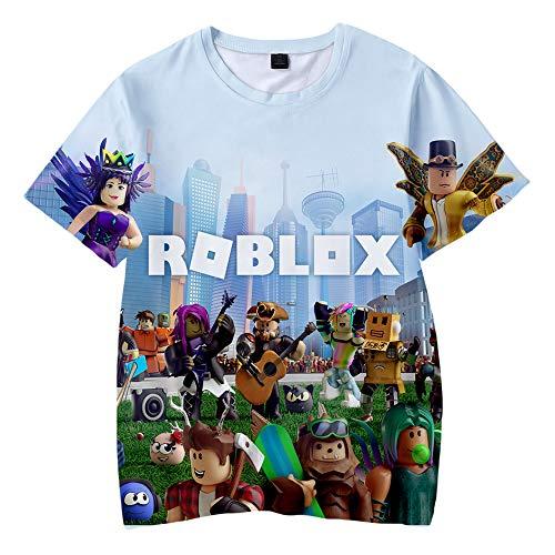 MOHKJMML Roblox Camiseta Camiseta con Estampado de Dibujos Animados Tops Transpirables...