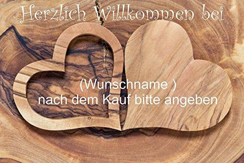Crealuxe Fussmatte Herzlich Willkommen mit Wunschname (nach dem Kauf angeben) 3 - Fussmatte Bedruckt Türmatte Innenmatte Schmutzmatte lustige Motivfussmatte