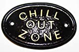 'Chill OUT zone' diseño cilíndrico/con texto en inglés de invernadero/diseño con texto en inglés en negro con dorado en relieve diseño con texto en inglés