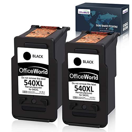 OfficeWorld Remanufactured Kompatibel Canon PG-540 CL-541 Tintenpatronen (2 Schwarz) Kompatibel für Canon Pixma TS5150 MG2100 MG2150 MG2200 MG2250 MG3100 MG3150 MG3200 MG3250 MG3255
