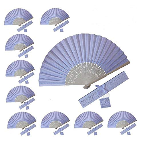 WEN FEIYU 10pcs Folding Silk Hand Fan Versus Gift Box Party or Wedding Gifts (White)