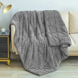 Adults Weighted Blanket 15lbs 60×80 Inches Twin Full Size, Coolplus Ribbed Fleece Flannel Heavy Blankets with Ceramic Beads for Bed Calm Sleeping Work Warm Cozy Dual Sided Grey