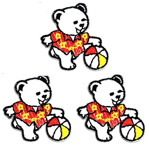 Umama Patch Set of 3 Mini White Teddy Bear with Beach Ball Cartoon Patch Little Teddy Bear Iron on Patches for Kids Clothing Sew on Appliques Dress Clothes Backpacks Vest Jeans Jackets Hats