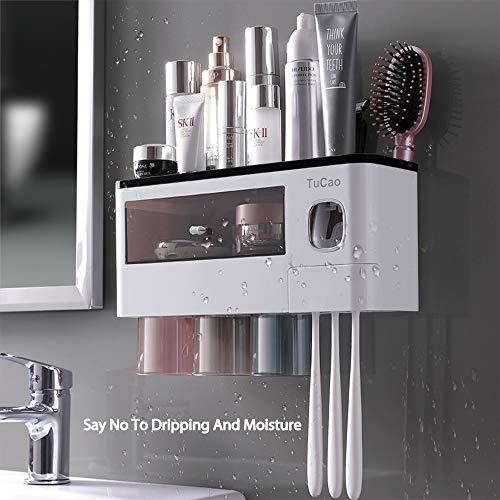 TuCao - Dispensador automático de pasta de dientes para colgar en la pared y ahorrar espacio para el baño, 6 ranuras para cepillo de dientes con cubierta y cajón organizador de cosméticos (3 tazas)