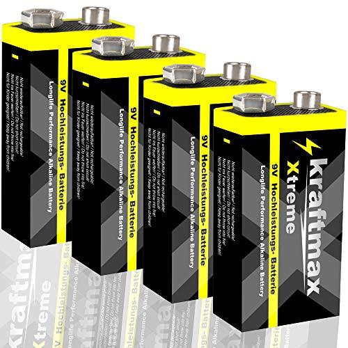 kraftmax 4er Pack Xtreme 9V Block Hochleistungs- Batterien ideal für 10 Jahres Rauchmelder - 6LR61 9 Volt Longlife Blockbatterie mit maximaler Lebensdauer