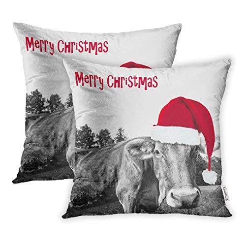 okstore1988 Juego de 1 funda de cojín decorativa con gorro de Navidad rojo de granja en blanco y negro vaca feliz animal 45,7 x 45,7 cm, fundas de almohada cuadradas, fundas de almohada por un lado