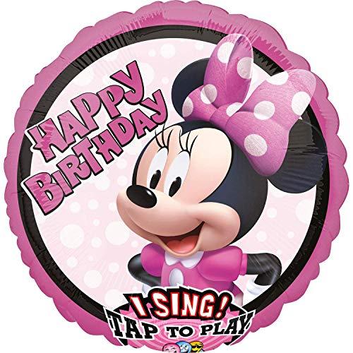 Singender Folienballon * MINNIE MOUSE * als Geschenk für Kindergeburtstag und Mottoparty | 71cm x 71cm | Folien Ballon Helium Deko Ballongas Motto