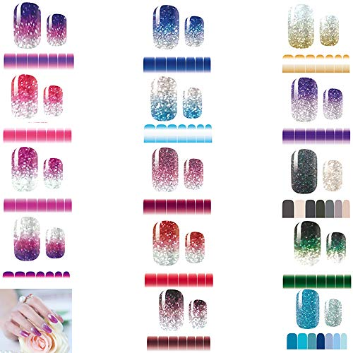 Full Nail Stickers 14 Sheets, Glitter Gradient Color Full Wraps Polish Strips, Nail Art Decals, Self-Adhesive Nail Art Sets for Women Girls.