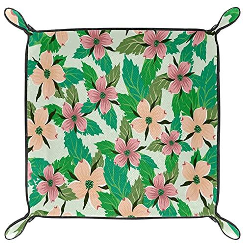 Bandeja de valet para almacenamiento de escritorio, caja de reloj de piel sintética, monedero para cambio de moneda, bandeja de captación de llaves, flores de cornejo y hojas verdes