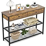 Ecoprsio Console Table with Drawers Industrial Sofa Table Entryway Table Narrow Long with Storage Shelves for Entryway, Front Hall, Hallway, Sofa, Couch, Living Room, Coffee Bar, Kitchen, 40 Inch