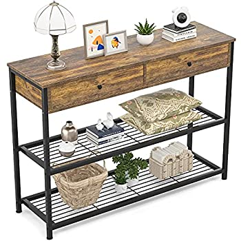 Ecoprsio Console Table with Drawers Industrial Sofa Table Entryway Table Narrow Long with Storage Shelves for Entryway Front Hall Hallway Sofa Couch Living Room Coffee Bar Kitchen 40 Inch