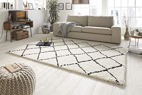Mint Rugs Hochflor Teppich Hash Creme Schwarz, 160x230 cm