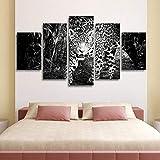 QIANJJ Lienzo 5 Partes Lienzo Grandes murales Leopardo Blanco y Negro de Animales del Bosque Partes impresión artística Cuadros para dormitorios