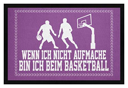 shirt-o-magic Basketball-Fan: .bin ich beim Basketball - Fußmatte mit Gummirand -40cm x 60cm-Lila
