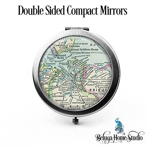 Custom Map Compact Mirror Norfolk Virginia Antique Map Bridesmaid Gifts Cosmetic Mirror Unique Map Gifts