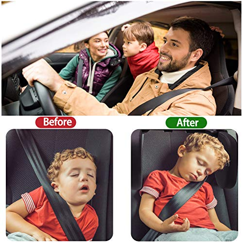 Rajvia Car Headrest Pillow, Car Pillow for Head and Neck Support, Sleeping Travel Car Seat Pillow, U Shaped Side Sleep Head Pillows Fits Kids Adults and Elders. (Beige)