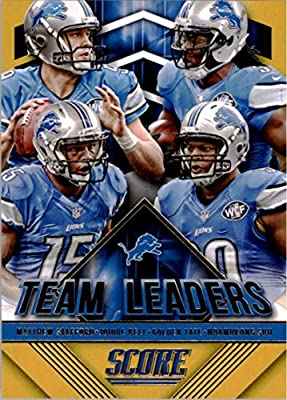 2015 Panini Score Team Leaders Gold #14 Golden Tate/Joique Bell/Matthew Stafford/Ndamukong Suh Lions Football Card NM-MT