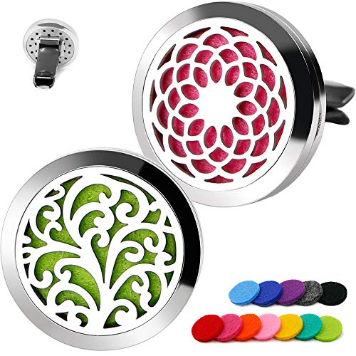 2PCS RoyAroma 30mm Car Aromatherapy Essential Oil Diffuser Stainless Steel Locket with Vent Clip 12 Felt Pads