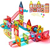 ZAYOR Magnetic Tiles Blocks for Kids 3D with Clear Color Educational Toys, Magnetic Marble Run Magnetic Building Blocks,Stem Toy for Ages 3 4 5 6 7 8 Year Old Boys Girls Toys Set 72 Pcs