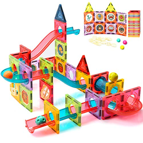 ZAYOR Magnetic Tiles Blocks for Kids 3D with Clear Color Educational Toys, Magnetic Marble Run Magnetic Building Blocks,Stem Toy for Ages 3 4 5 6 7 8 Year Old Boys Girls Gifts Set 72 Pcs