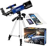 Emarth Telescope for Kids Beginners Adults, 70mm Astronomy Refractor Telescope with Adjustable Tripod