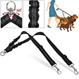 SlowTon Double Dog Leash, No Tangle Double Leash for Dogs Walking Training 360°Swivel Rotation Reflective Adjustable Length Dual Two Dog Lead Splitter, Comfortable Shock Absorbing Bungee Lead 2 Dogs