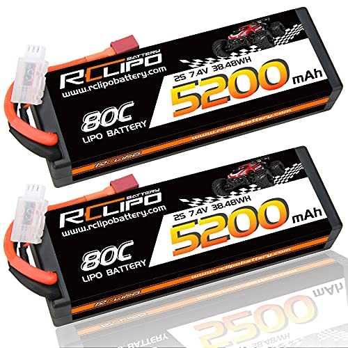 7.4V Lipo Battery 5200mAh 80C 2S Lipos HardCase with Deans(T) Plug for Traxxas TRX-4/1/10 Scale/4WD Brushless MonsterTruck/Hoss 4X4VXL/Arrma Granite/Tamiya Ford GT4/Losi LMT/RC Car/RC Models(2PCS)