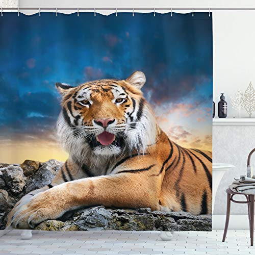 ABAKUHAUS Tiger Duschvorhang, Beruhigen Wildtier Sonnenuntergang, Digital auf Stoff Bedruckt inkl.12 Haken Farbfest Wasser Bakterie Resistent, 175 x 200 cm, Multicolor