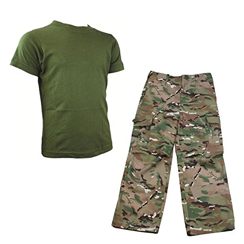 HMTC MTP/MultiCam Match Hose und olivgrünes T-Shirt, Armee-Camouflage-Kostüm, Soldaten-Outfit (13–14)